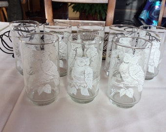 Vintage Libby Owl Glasses with Metal Serving Tray
