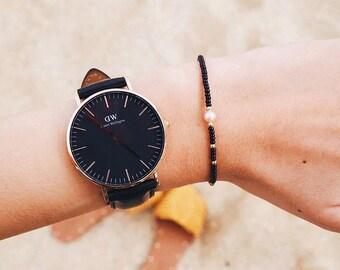 Friendship bracelet / seed bead bracelet / Pearl bracelet, Delicate bracelet / black bracelet