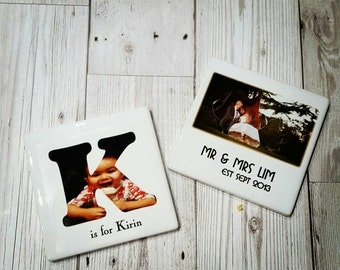Personalised ceramic coaster, housewarming gift, wedding gift, anniversary gift, engagement, birthday, mother's day, coasters with pictures