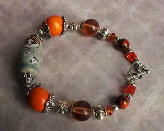 Babushka Russian Doll Bracelet - Matryoshka Jewellery - Orange Beaded Bracelet - Tibetan Silver Jewellery - Unusual Pretty Jewellery