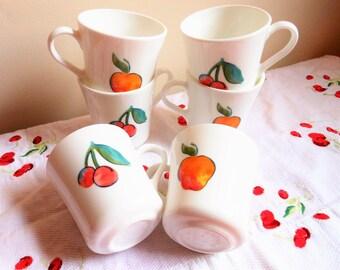 6 Corning Fruit Basket Cups, Rare Corningware Cups, Retro Corning Coffee Cups, 6 Corelle Cherries Apples Coffee Mugs, Fruit Basket Mugs