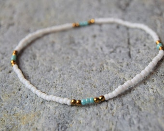 Dainty Stretch Anklet, Beaded Anklet, Ultra Dainty Stretch Beaded Bracelet, Beach Anklet, Dainty Bracelet, Stretch Bracelet