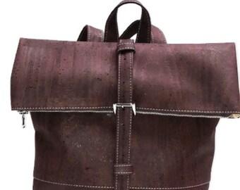 Backpack Backpack Cork backpack Cork Cork leather sustainable vegan Cork bag Aubergine purple