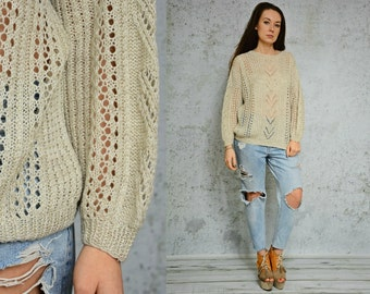 Beige sweater vintage sheer pullover crochet 80s Cable Knit hippie Oversized M Medium size