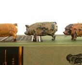 Miniature Pigs  Vintage 1930s English Diecast Lead Toys  Metal Figures  Miniature Animals  Toy Farm