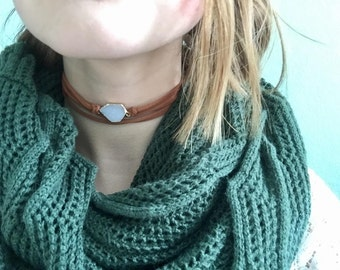 Dainty white druzy slice choker/wrist wrap/necklace.  Actual in stock stones vary, but color selections are accurately shown.