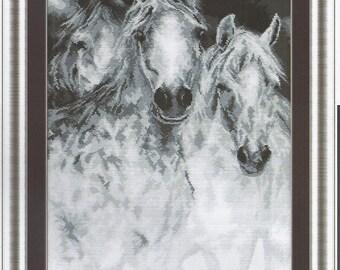 Cross Stitch Kit White Horses