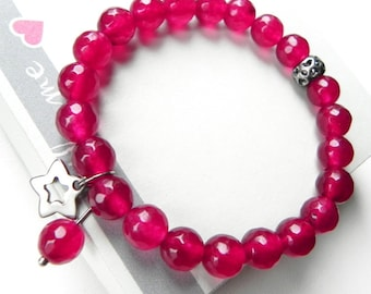 Pink Jade bracelet Genuine stones Stretch bracelet Faceted beads 8 mm Star charm bracelet Cranberry magic jewellery Gift for her