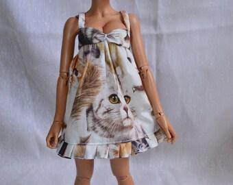 Flower, cat or polka dot dress for BJD minifee