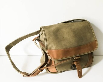 Cross body canvas tote - Canvas and leather shoulder bag - L.L. Bean canvas bag - Hipster canvas bag - Canvas cargo bag - Messenger bag
