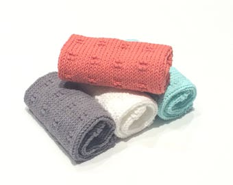 Hand Knit Dishcloths, Washcloths  - 100% USA Cotton, Bath and Body, Exfoliating Washcloths,Kitchen Towels, Gift Set, Mother's Day Gift.