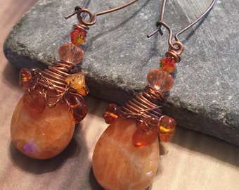 Distressed look orange stone wire wrapped with amber chips