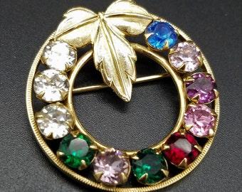 Gold-Filled Van Dell Rhinestone Wreath Brooch/Pin