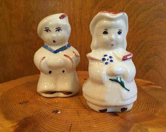Shawnee Salt and Pepper Shakers Sailor Boy and Bo Peep Vintage 1940s