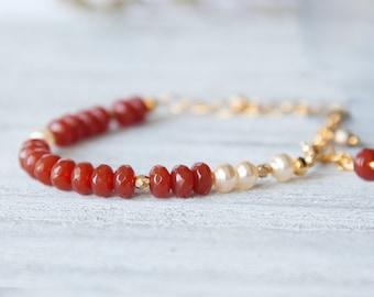 Carnelian and Pearl Bracelet, Beaded Bracelet, Boho Bead Bracelet, Boho Bracelet, Boho GIfts, Gift for Her, Red Bracelet, Boho Jewelry