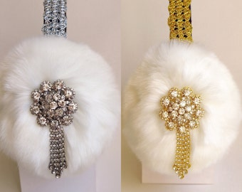 White earmuffs inspired by Chanel 3 Scream Queens, faux fur ear muffs, plush ear warmers, fluffy earmuffs, christmas gift for  her