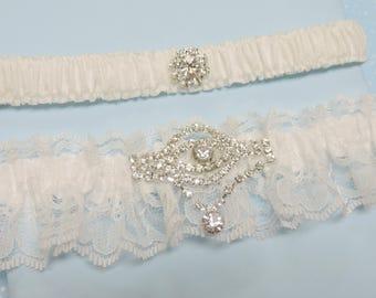 White Wedding Garter Set,  Wedding garter set,  Wedding garters,  Garters,  Bridal garters
