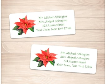 """Printable Poinsettia Address Labels - Holiday Red Green Personalized 2 5/8"""" x 1"""" Address Labels - Editable PDF - Instant Download"""