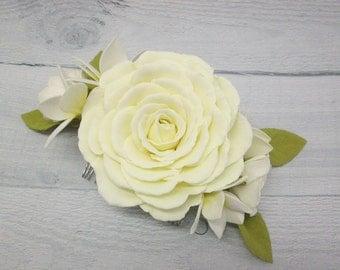 Hair accessories Flower hair Bridal hair Yellow wedding Hair comb Wedding hair comb Bridal comb Hair wedding comb Flower hair comb Prom hair