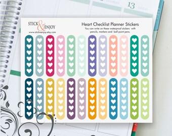 Heart Checklist Stickers, Checklist Planner Stickers, Multicolor Planner Stickers, Erin Condren Life Planner Stickers.