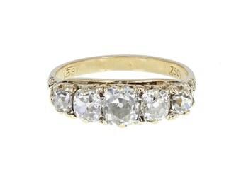 Antique Gallery Set Five Stone Diamond Ring