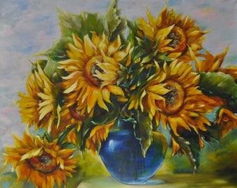 Sunflowers / Original painting / Contemporary art / 32 X 36 inch ( 80 X 90 cm ) / by Noldin