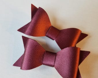 Burgundy bow set,pigtail bows