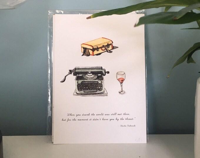 Charles Bukowski Drinking & Writing Print