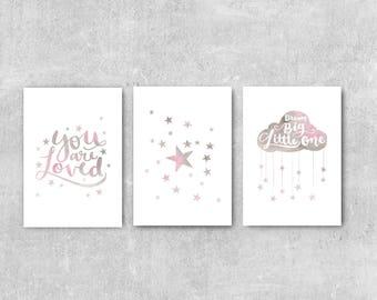 Pink and Grey Nursery Decor, Set Of 3 Prints, Girls Nursery Wall Art, Nursery Art Girl, Nursery Print Set, Baby Girl Wall Art, Dream Big