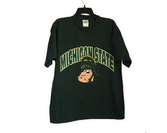 20c5c1118 ... Basketball Jersey spartans michiganstate sparty Vintage Michigan State  Spartans Green T-Shirt Large Custom ...