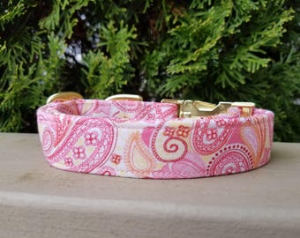 Gorgeous Soft Pink, Yellow And Orange Paisley Dog Collar / Stunning and Sophisticated / Great Gift Idea / Girly Collar /Stylish & Functional