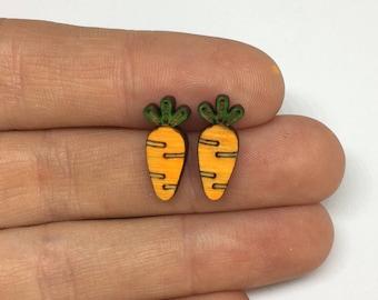 Wooden carrot Earrings, easter bunny food, easter earrings, easter gift