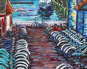 Ryba's Bike Rental, Mackinac Island, Bikes, Michigan Painting, Fine Art Giclee, Shepler's Ferry.