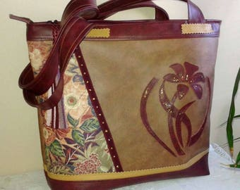 Tote handbag in imitation leather, with zip pocket