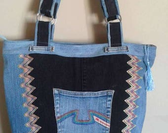 Closed with zipper and inner/outer pockets denim tote bag