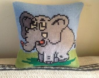 Handmade cushion pillow Decorative pillow Cross stitched Pillow