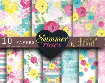Summer digital paper. Summer. Rose digital paper. Floral digital paper. Roses digital paper. Shabby chic. Watercolor rose. Floral