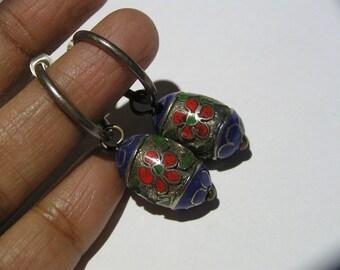 Hoop  Earrings. Sterling silver . Chinese enamel beaded .