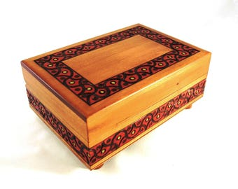 Handmade Wooden Secret Box/ Wooden Puzzle Box/ Trick Box/ Keepsake Box/ Jewellery Box/ Trinket Box/ Secret Opening