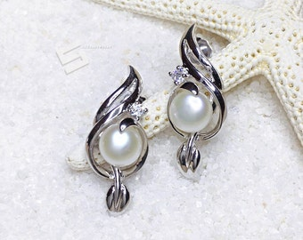 Pearl Earrings, Cultured Pearl In Silver Earrings, Real Pearls & 925 Silver Drop Earrings, White Pearl Dangle Earrings, Real Pearl Jewelry