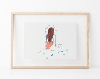 Surfer Girl (Watercolor Artwork - Printed Illustration - Illustration Print - Wall decor - Wall Art)