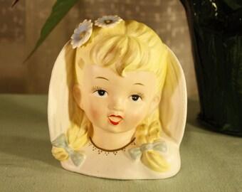 Vintage Enasco Angel Girl Head Vase