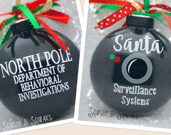 Santa Cam- LARGE, Santa Camera, Santa Ornament, Glitter Christmas Ornament, Santa Surveillance, North Pole Viewer