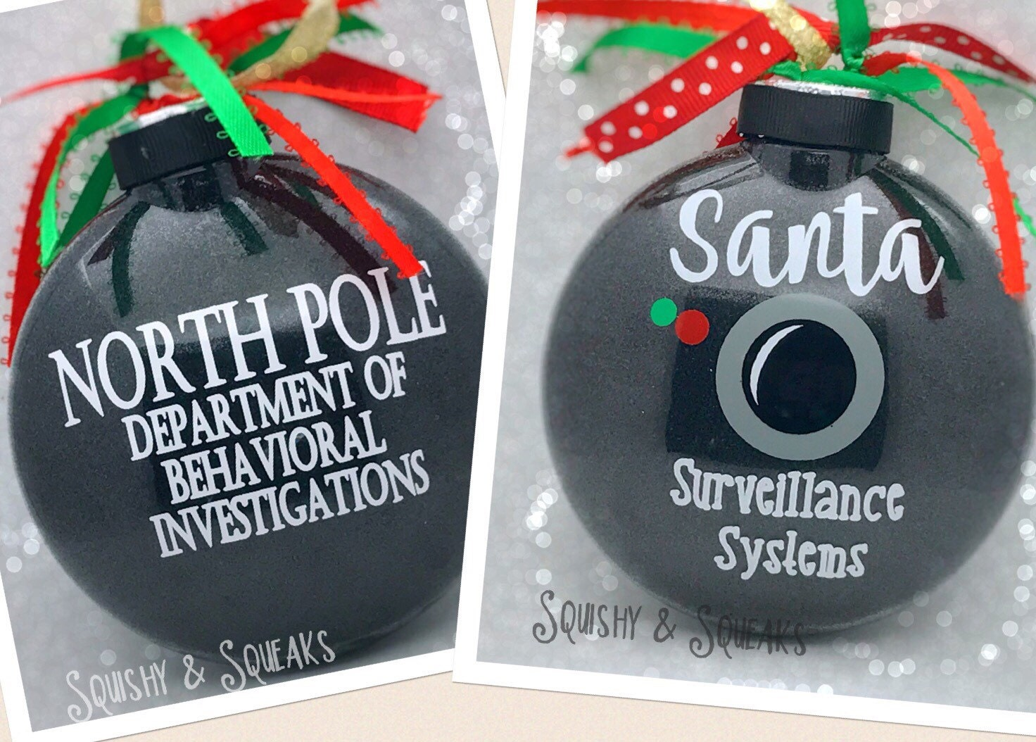 Santa Cam Large Santa Camera Santa Ornament Glitter