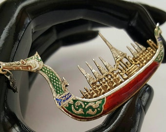 SIAM Sterling Dragon Boat Pin