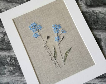 Original textile picture, forget me not, flower picture, flower textile art, handmade, unique, embroidered picture, botanical picture