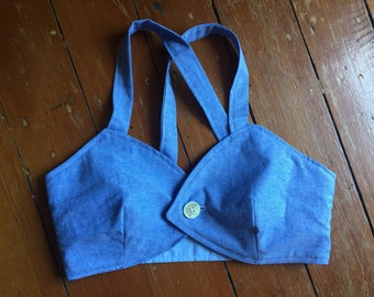 Cotton Chambray Crop Top