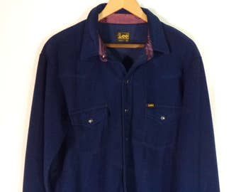 70s-80s Lee USA fleece oxford// Royal blue snap front western button down shirt// Men's size 44 XL