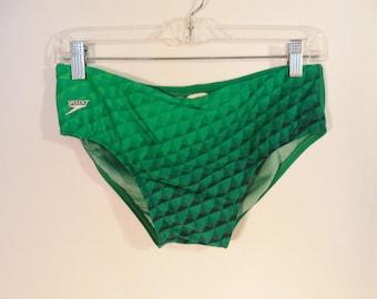 Vintage Speedo men's swimsuit// Retro 80's geometric psychedelic green bathing suit// Size medium 30-34