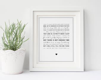 Jack Johnson 'Better Together' Song Lyrics, Typographic Wall Art Quote - Song Lyric Print - Music Gift - Can be personalised, digital option